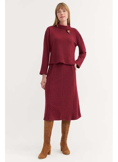 BGN Kiraz Rengi - Fitilli Jarse Bluz - Etek Takım Kırmızı